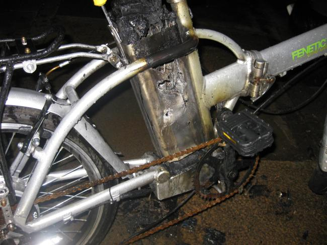 Image of a burnt out ebike.